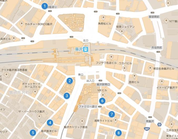 藤沢駅周辺のガールズバーの地図