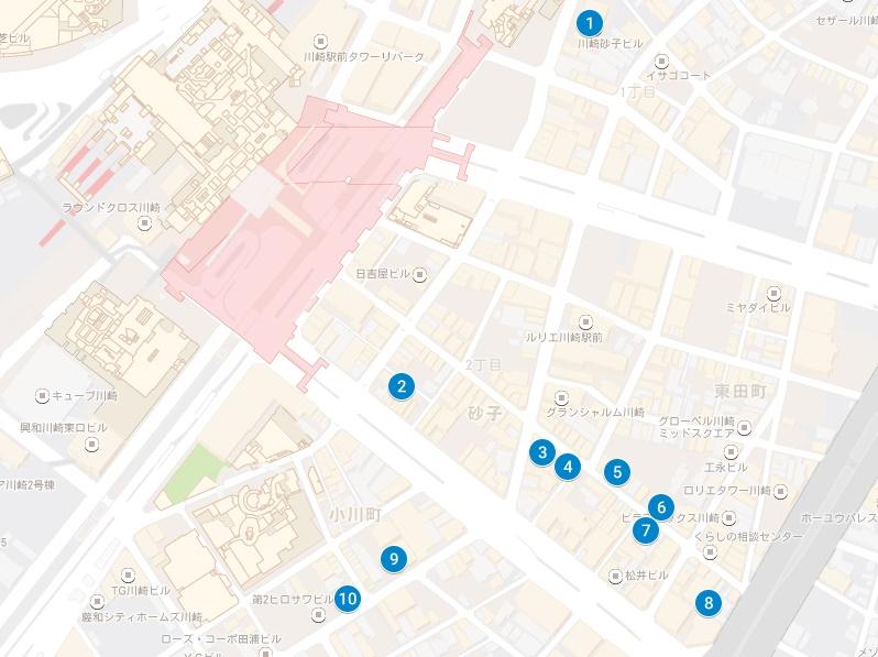 川崎駅周辺のガールズバーの地図